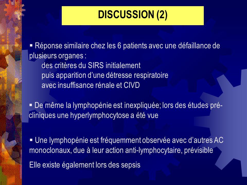 DISCUSSION (2) Réponse similaire chez les 6 patients avec une défaillance de plusieurs organes : des critères du SIRS initialement puis apparition dun