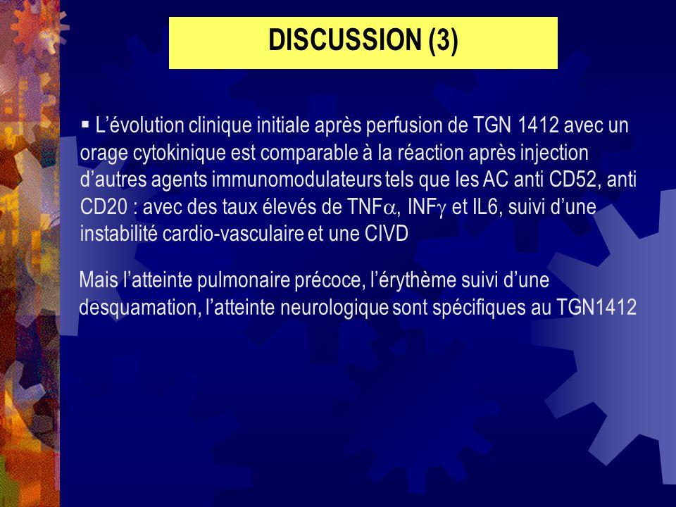 Lévolution clinique initiale après perfusion de TGN 1412 avec un orage cytokinique est comparable à la réaction après injection dautres agents immunom
