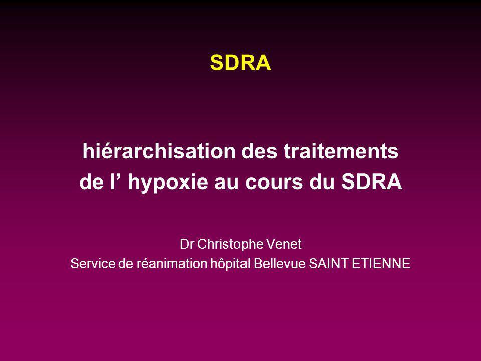 traitements de l hypoxie au cours du SDRA Ventilation mécanique +/- traitements adjuvants décubitus ventral (DV) monoxyde d azote (NO) almitrine (VECTARION ® )