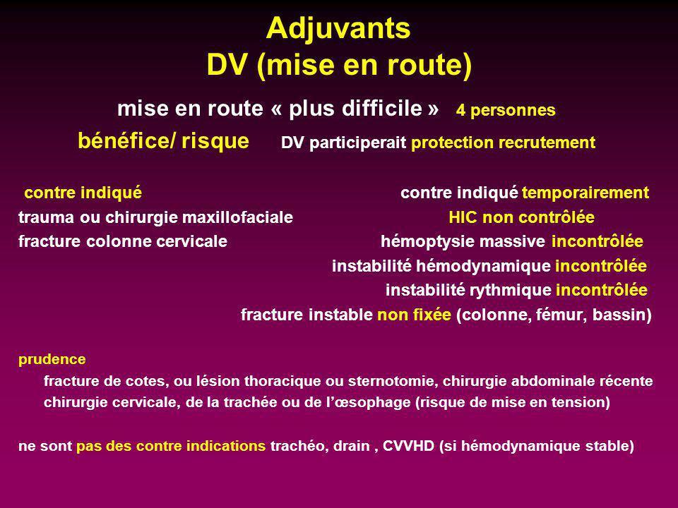 Adjuvants DV (mise en route) mise en route « plus difficile » 4 personnes bénéfice/ risque DV participerait protection recrutement contre indiqué cont