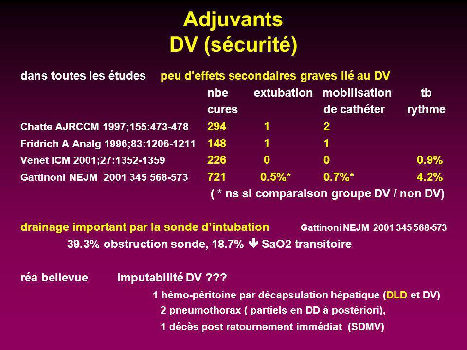 Adjuvants DV (sécurité) dans toutes les études peu d'effets secondaires graves lié au DV nbe extubation mobilisation tb cures de cathéter rythme Chatt