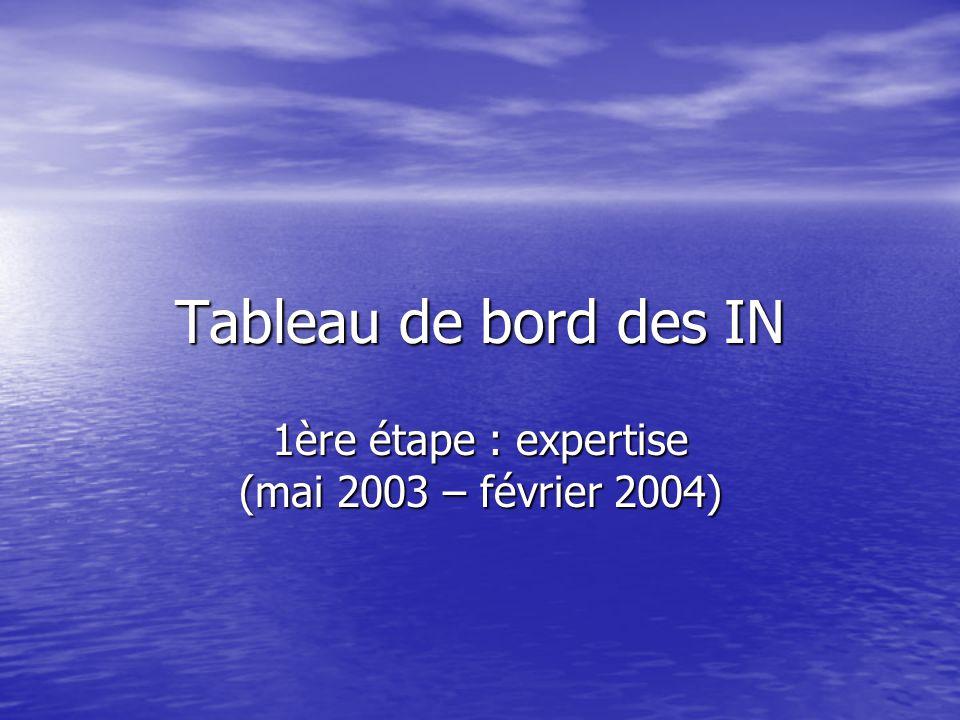 Tableau de bord des IN 1ère étape : expertise (mai 2003 – février 2004)