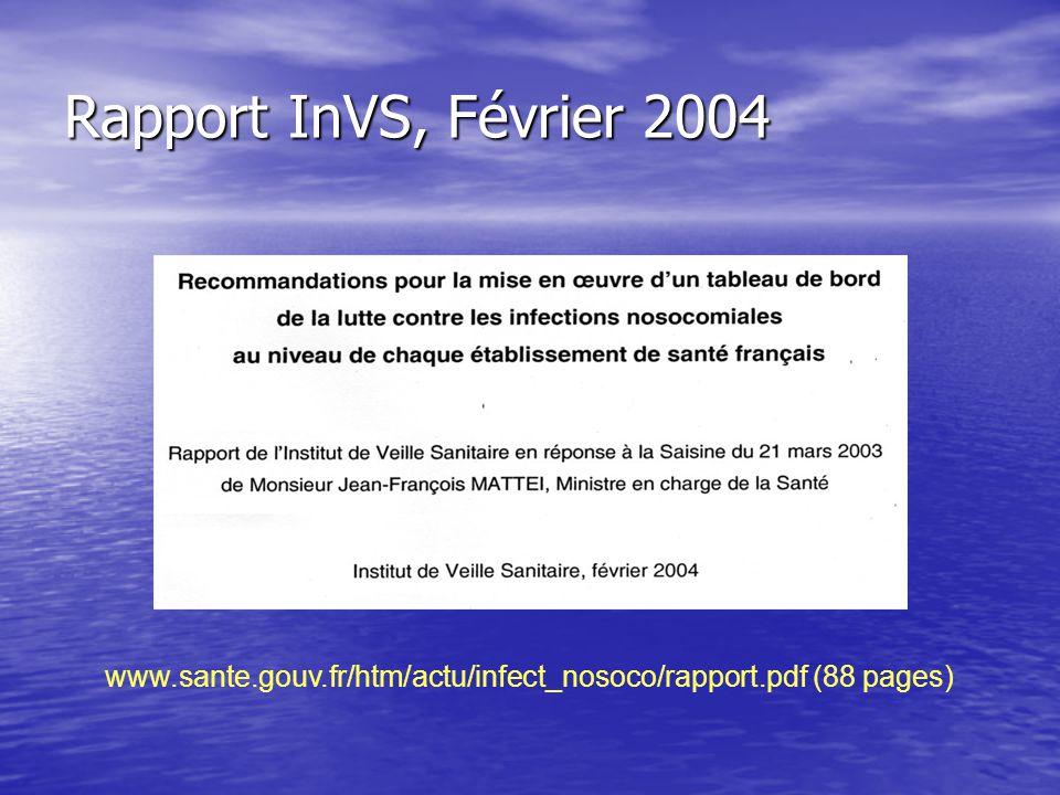 Rapport InVS, Février 2004 www.sante.gouv.fr/htm/actu/infect_nosoco/rapport.pdf (88 pages)