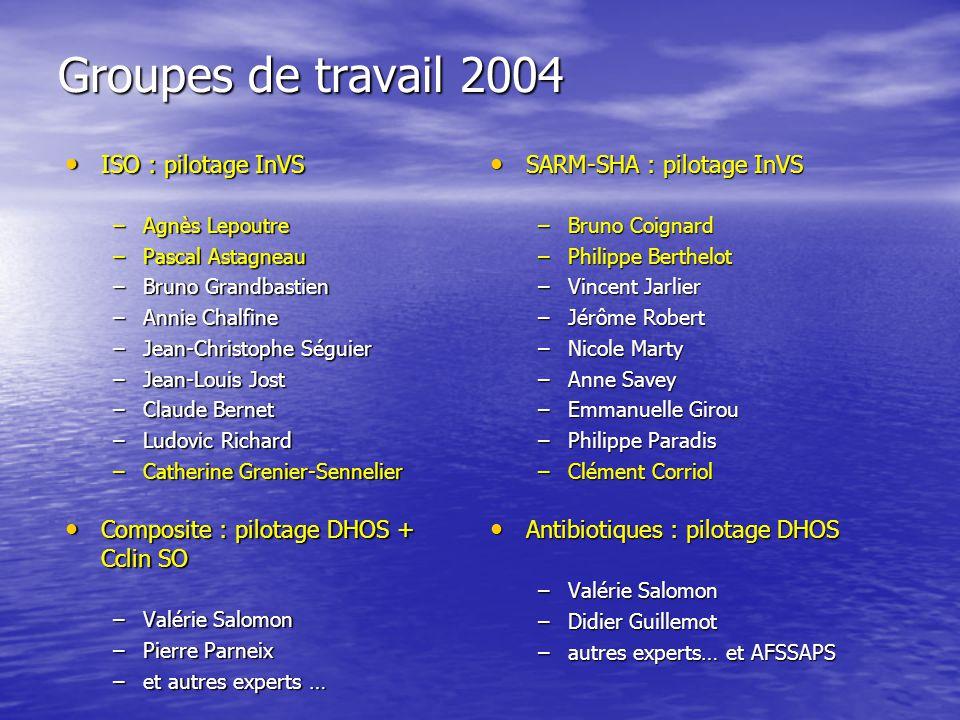 Groupes de travail 2004 ISO : pilotage InVS ISO : pilotage InVS –Agnès Lepoutre –Pascal Astagneau –Bruno Grandbastien –Annie Chalfine –Jean-Christophe