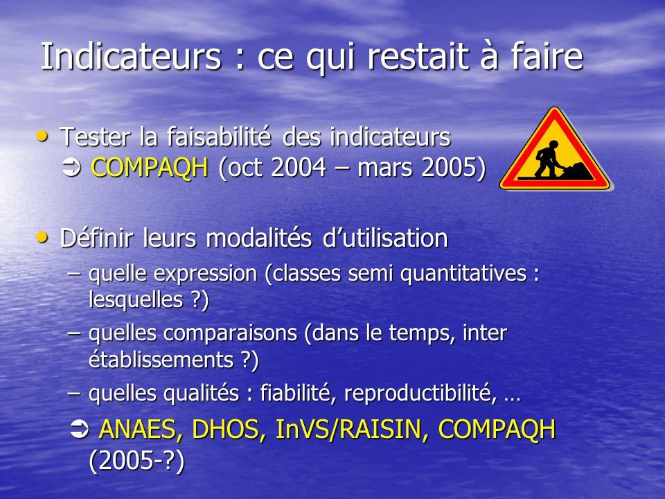 Indicateurs : ce qui restait à faire Tester la faisabilité des indicateurs COMPAQH (oct 2004 – mars 2005) Tester la faisabilité des indicateurs COMPAQ