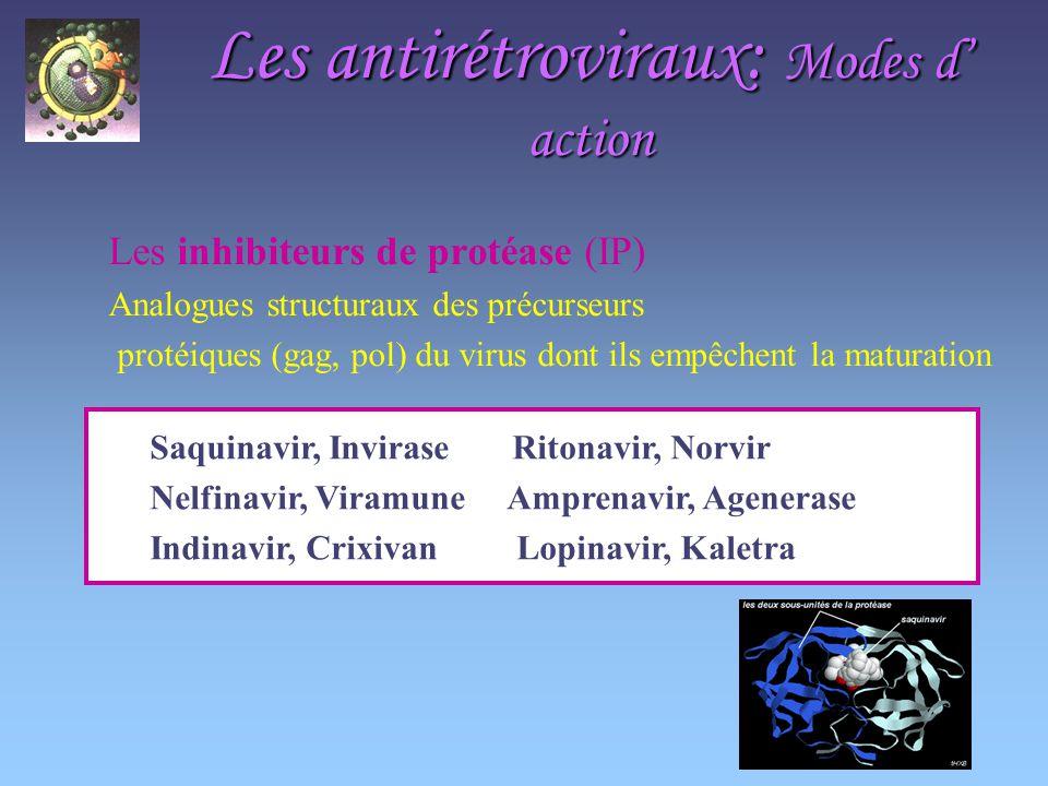 Les antirétroviraux: Modes d action Les inhibiteurs de protéase (IP) Analogues structuraux des précurseurs protéiques (gag, pol) du virus dont ils empêchent la maturation Saquinavir, Invirase Ritonavir, Norvir Nelfinavir, Viramune Amprenavir, Agenerase Indinavir, Crixivan Lopinavir, Kaletra