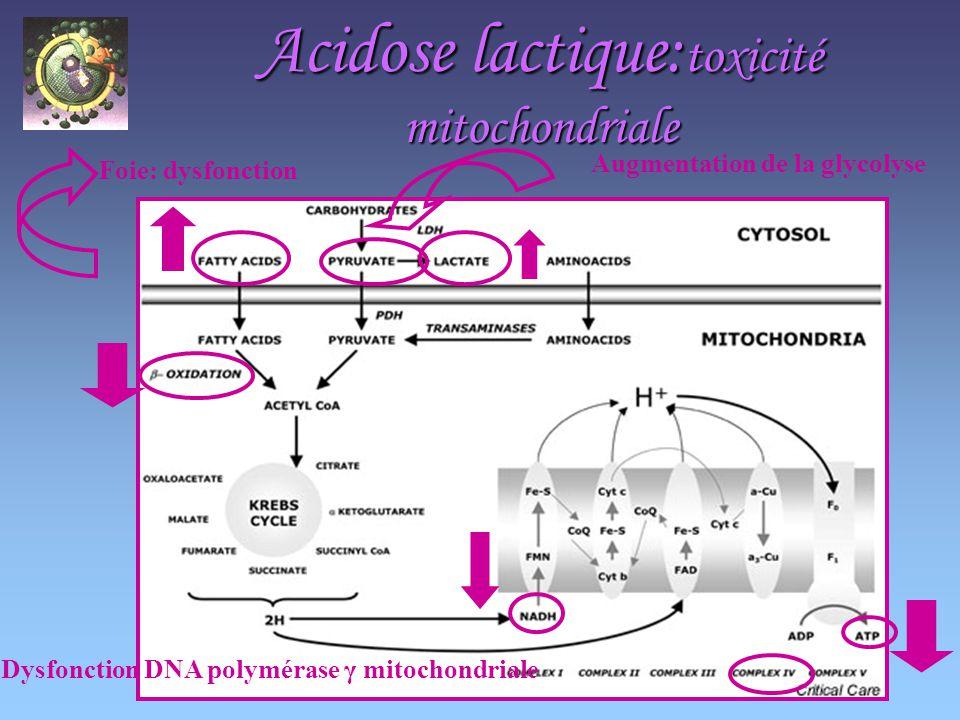 Acidose lactique: toxicité mitochondriale Foie: dysfonction Augmentation de la glycolyse Dysfonction DNA polymérase γ mitochondriale