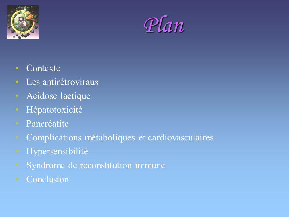 Plan Contexte Les antirétroviraux Acidose lactique Hépatotoxicité Pancréatite Complications métaboliques et cardiovasculaires Hypersensibilité Syndrome de reconstitution immune Conclusion