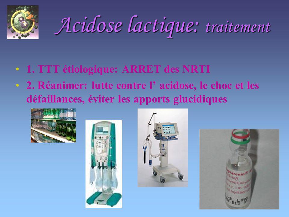 Acidose lactique: traitement 1.TTT étiologique: ARRET des NRTI 2.