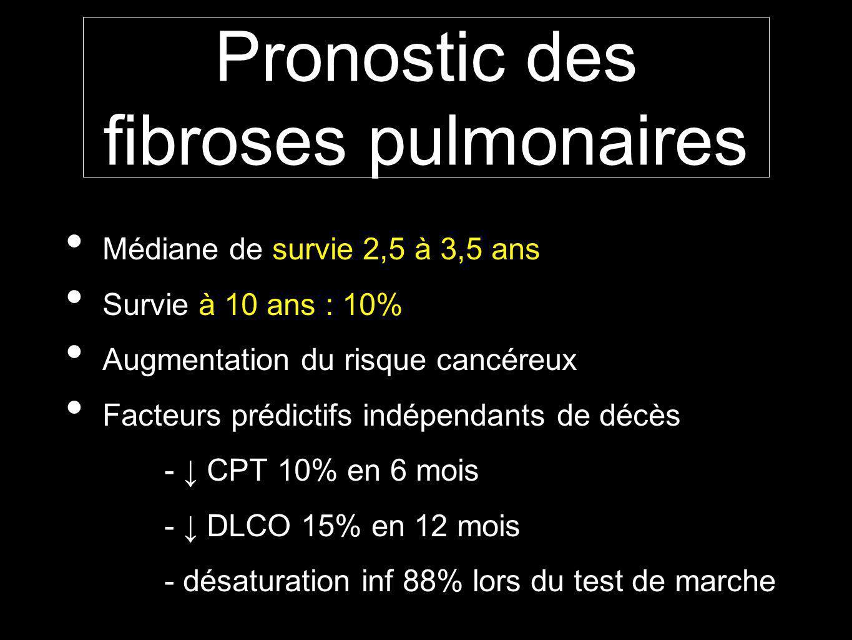Pronostic des fibroses pulmonaires Médiane de survie 2,5 à 3,5 ans Survie à 10 ans : 10% Augmentation du risque cancéreux Facteurs prédictifs indépendants de décès - CPT 10% en 6 mois - DLCO 15% en 12 mois - désaturation inf 88% lors du test de marche