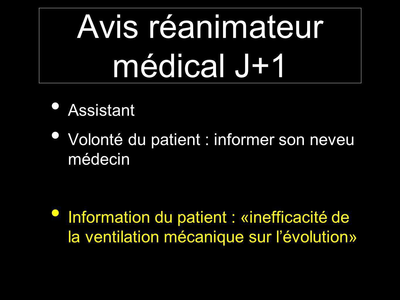 Avis réanimateur médical J+1 Assistant Volonté du patient : informer son neveu médecin Information du patient : «inefficacité de la ventilation mécanique sur lévolution»