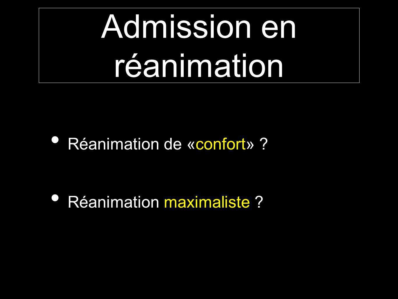 Admission en réanimation Réanimation de «confort» ? Réanimation maximaliste ?