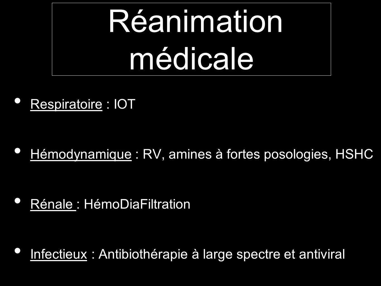 Réanimation médicale Respiratoire : IOT Hémodynamique : RV, amines à fortes posologies, HSHC Rénale : HémoDiaFiltration Infectieux : Antibiothérapie à large spectre et antiviral