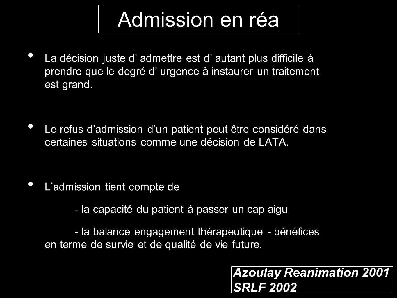 Azoulay Reanimation 2001 SRLF 2002 La décision juste d admettre est d autant plus difficile à prendre que le degré d urgence à instaurer un traitement