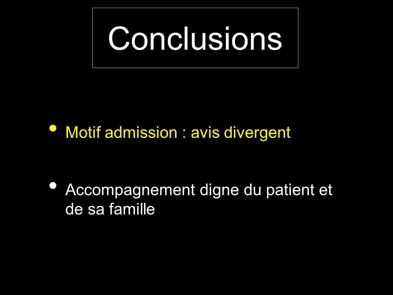 Motif admission : avis divergent Accompagnement digne du patient et de sa famille Conclusions