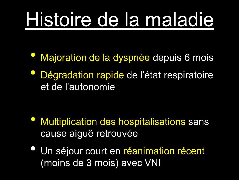 Histoire de la maladie Majoration de la dyspnée depuis 6 mois Dégradation rapide de létat respiratoire et de lautonomie Multiplication des hospitalisa