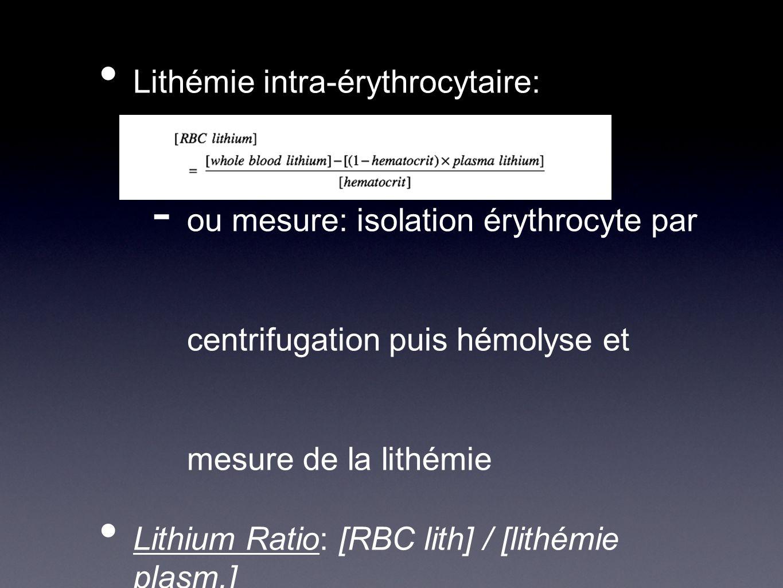 Lithémie intra-érythrocytaire: - ou mesure: isolation érythrocyte par centrifugation puis hémolyse et mesure de la lithémie Lithium Ratio: [RBC lith]
