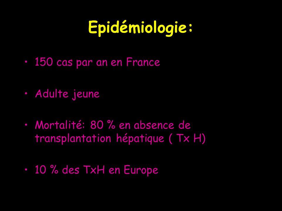 Etiologies: Virales: 50% –70% B; 7% A; E pdt grossesse –Gpe herpes –Paramyxovirus, fièvres hémorragiques Médicamenteuses: 25% –>1000 médicaments incriminés –paracétamol,AINS, Dépakine, antituberculeux, halothane...