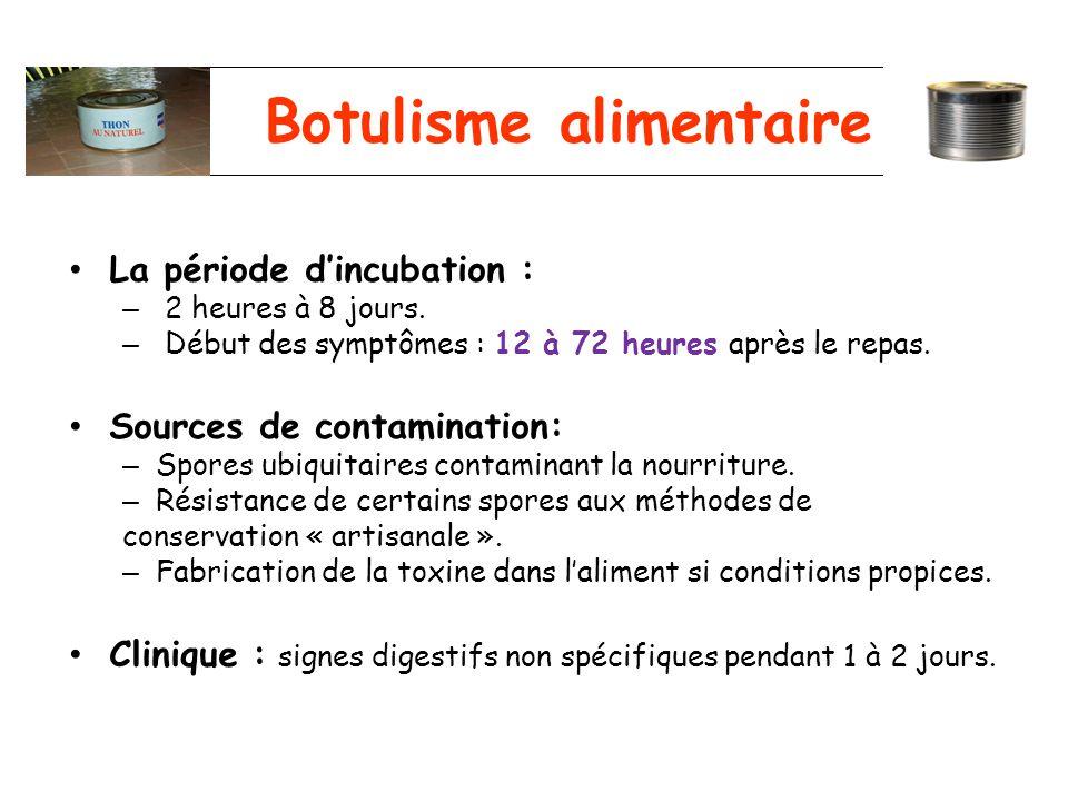 Botulisme alimentaire La période dincubation : – 2 heures à 8 jours. – Début des symptômes : 12 à 72 heures après le repas. Sources de contamination: