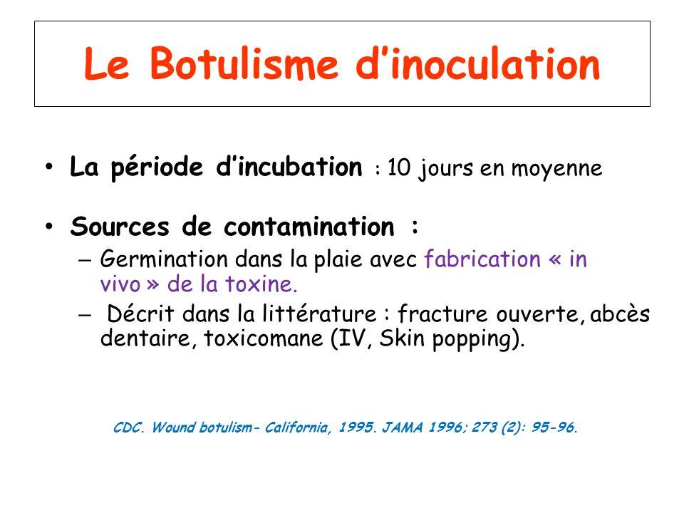 Le Botulisme dinoculation La période dincubation : 10 jours en moyenne Sources de contamination : – Germination dans la plaie avec fabrication « in vi