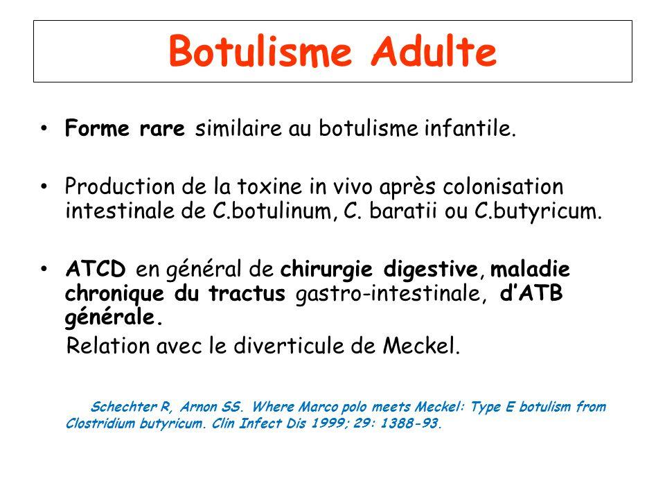 Botulisme Adulte Forme rare similaire au botulisme infantile. Production de la toxine in vivo après colonisation intestinale de C.botulinum, C. barati