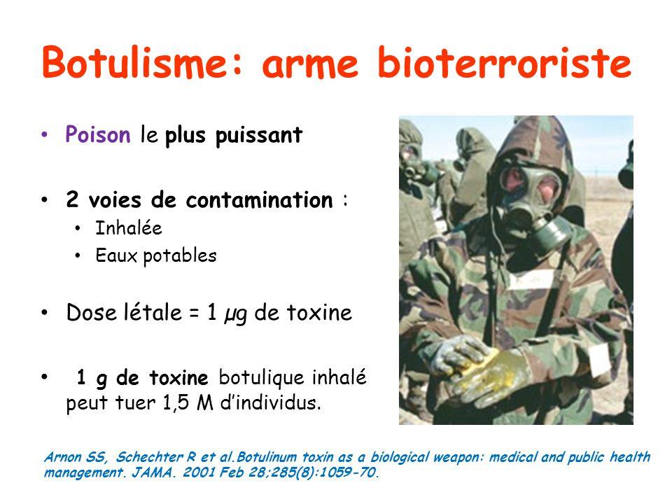 Botulisme: arme bioterroriste Poison le plus puissant 2 voies de contamination : Inhalée Eaux potables Dose létale = 1 µg de toxine 1 g de toxine botu