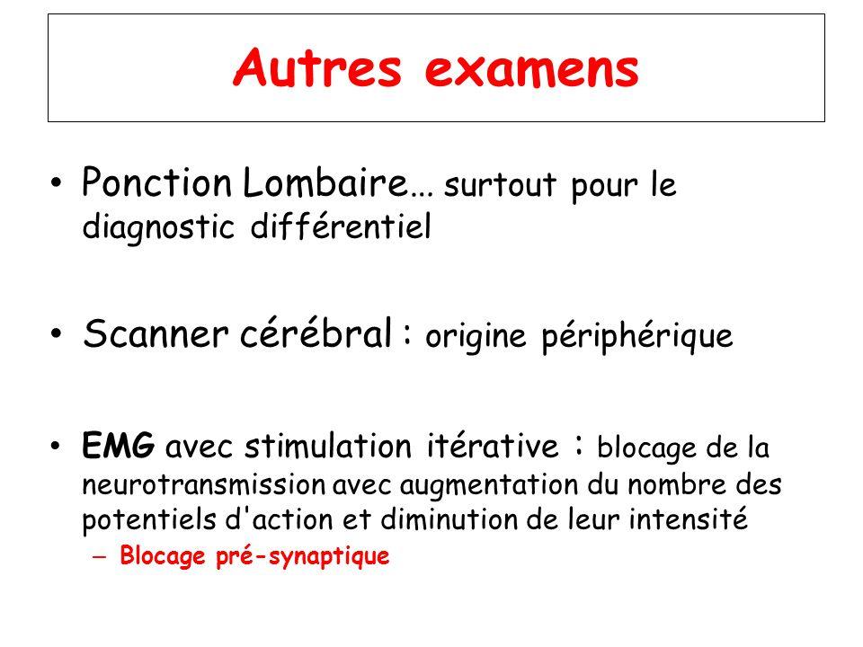 Autres examens Ponction Lombaire… surtout pour le diagnostic différentiel Scanner cérébral : origine périphérique EMG avec stimulation itérative : blo