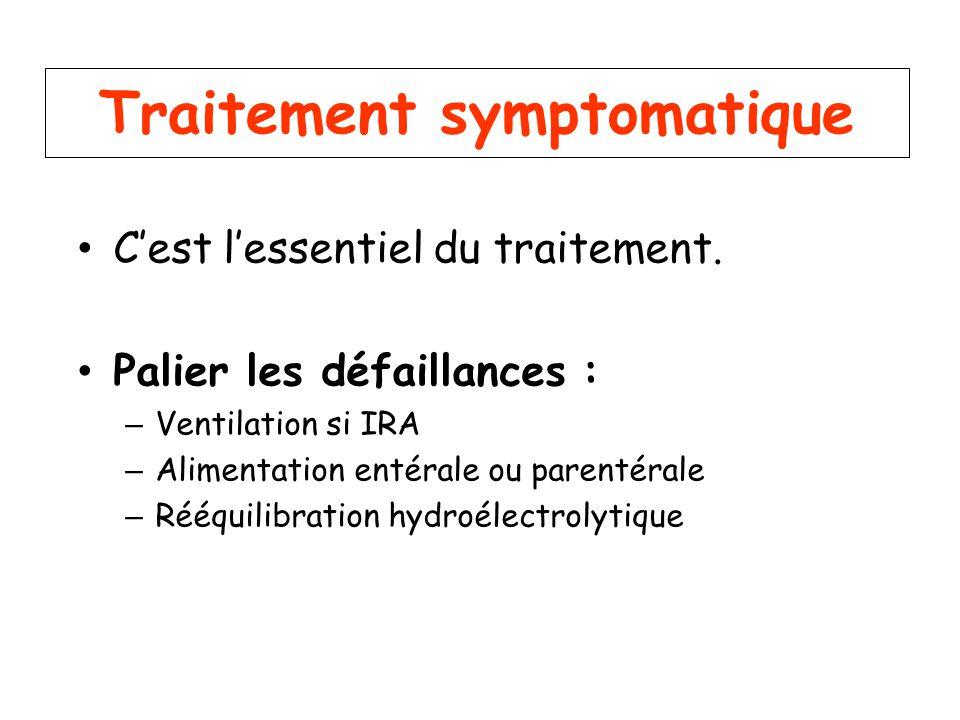 Traitement symptomatique Cest lessentiel du traitement. Palier les défaillances : – Ventilation si IRA – Alimentation entérale ou parentérale – Rééqui