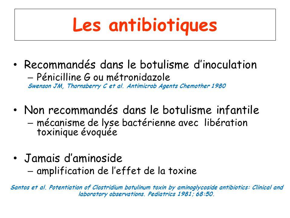 Les antibiotiques Recommandés dans le botulisme dinoculation – Pénicilline G ou métronidazole Swenson JM, Thornsberry C et al. Antimicrob Agents Chemo