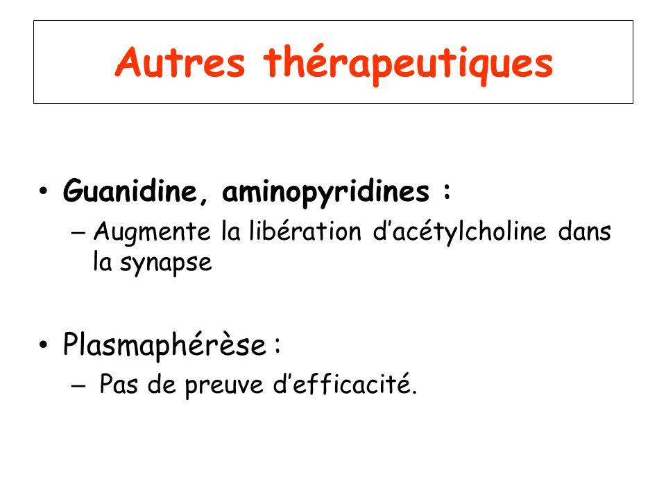 Autres thérapeutiques Guanidine, aminopyridines : – Augmente la libération dacétylcholine dans la synapse Plasmaphérèse : – Pas de preuve defficacité.