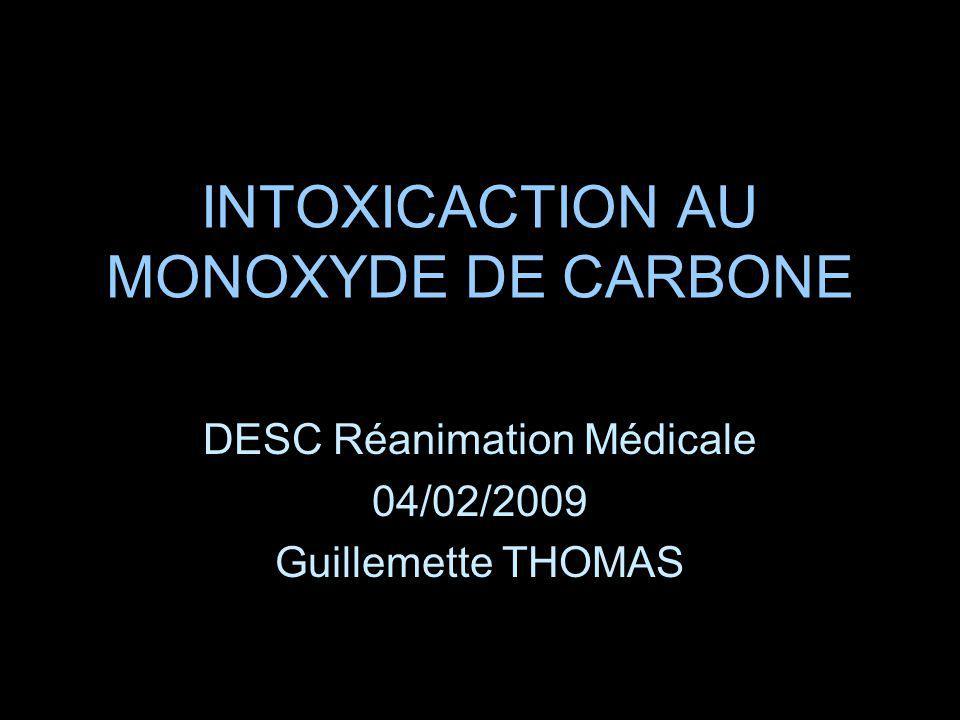 Dosage de lHbCO Le taux dHbCO nest pas toujours le reflet de la gravité de lintoxication Dépend: –Concentration de CO dans lenvironnement –Ventilation alvéolaire –Durée dexposition Valeur pronostique.
