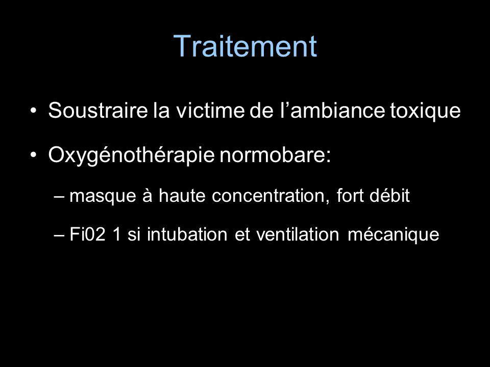 Traitement Soustraire la victime de lambiance toxique Oxygénothérapie normobare: –masque à haute concentration, fort débit –Fi02 1 si intubation et ve