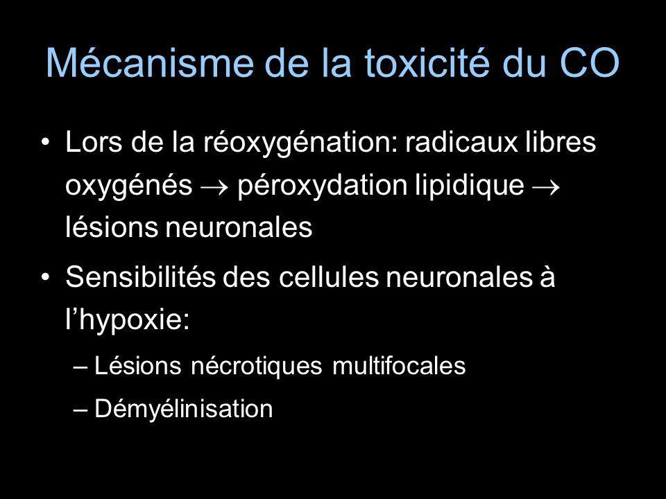 Mécanisme de la toxicité du CO Lors de la réoxygénation: radicaux libres oxygénés péroxydation lipidique lésions neuronales Sensibilités des cellules