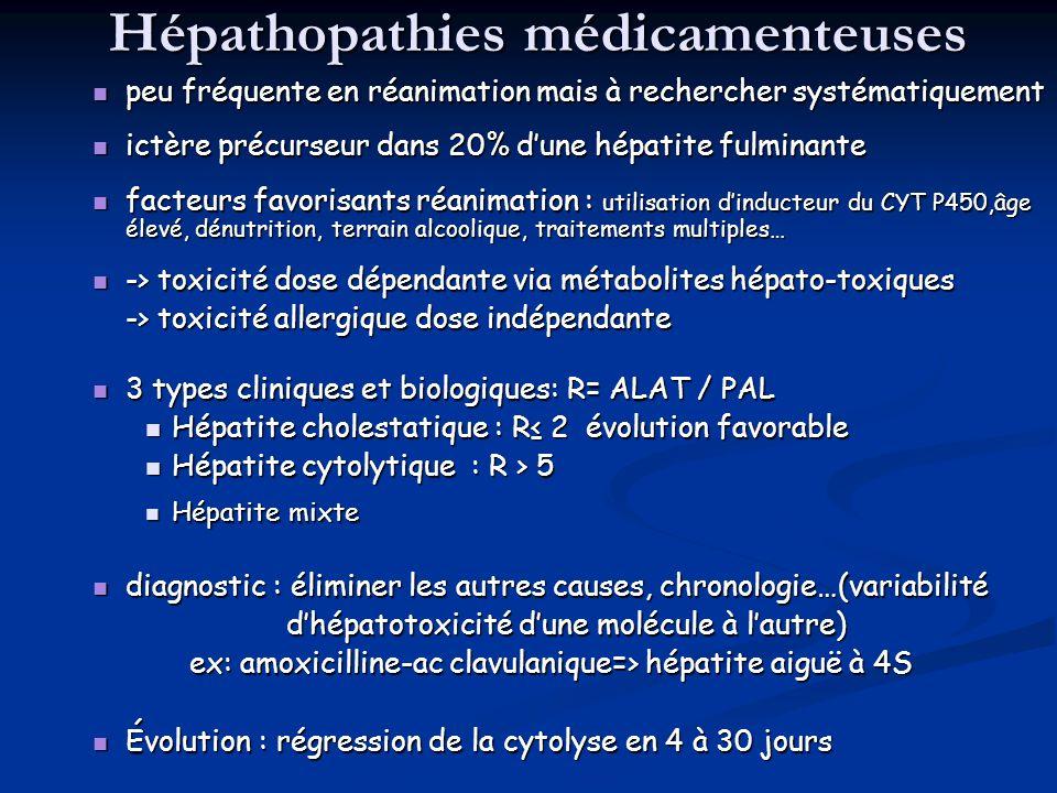 Hépathopathies médicamenteuses peu fréquente en réanimation mais à rechercher systématiquement peu fréquente en réanimation mais à rechercher systémat
