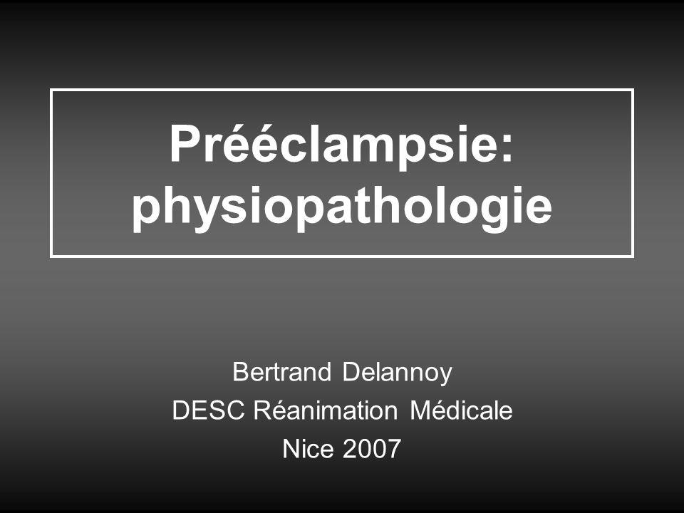 Définitions HTA gravidique = TAS/D > 140/90 après 20SA Prééclampsie: HTAG + protéinurie > 300mg/j et/ou –Sd oedémateux (OMI++) –Hyperuricémie > 350µmol/L –ASAT > N –Thrombopénie < 150 G/L –RCIU Prééclampsie sévère: TAS/D > 160/110 ou HTAG + –Douleur abdominale en barre, nausées vomissements –Céphalées en casque, hyperréflexie OT, tb oculaires –protéinurie > à 3,5 g/j –créatininémie > à 100 µmol/L –oligurie avec diurèse < 20 mL/H –hémolyse –ASAT > 3N –thrombopénie < 100 G/L