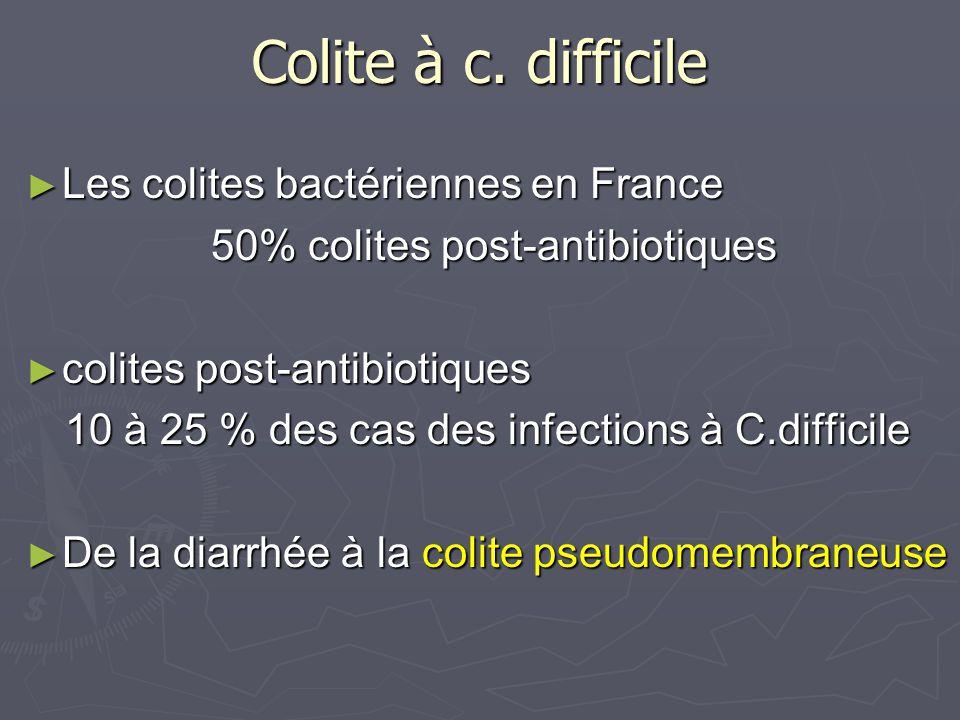Colite à c. difficile Les colites bactériennes en France Les colites bactériennes en France 50% colites post-antibiotiques 50% colites post-antibiotiq