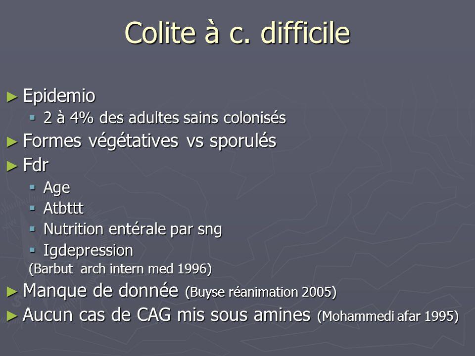 Colite à c. difficile Epidemio Epidemio 2 à 4% des adultes sains colonisés 2 à 4% des adultes sains colonisés Formes végétatives vs sporulés Formes vé