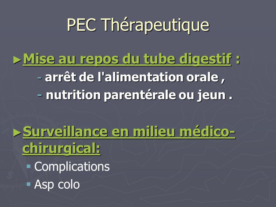 PEC Thérapeutique Mise au repos du tube digestif : Mise au repos du tube digestif : - arrêt de l'alimentation orale, - arrêt de l'alimentation orale,