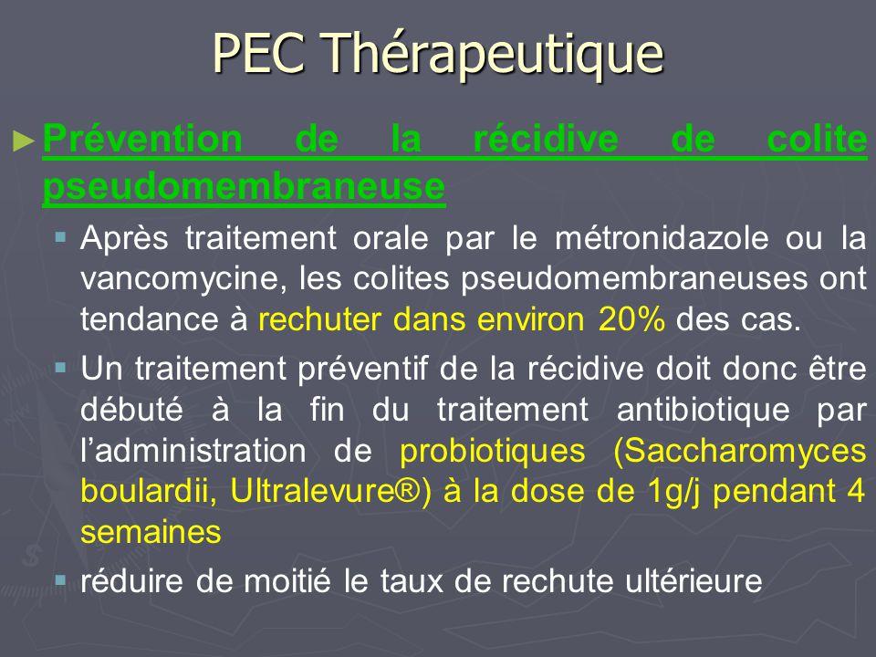 PEC Thérapeutique Prévention de la récidive de colite pseudomembraneuse Après traitement orale par le métronidazole ou la vancomycine, les colites pse