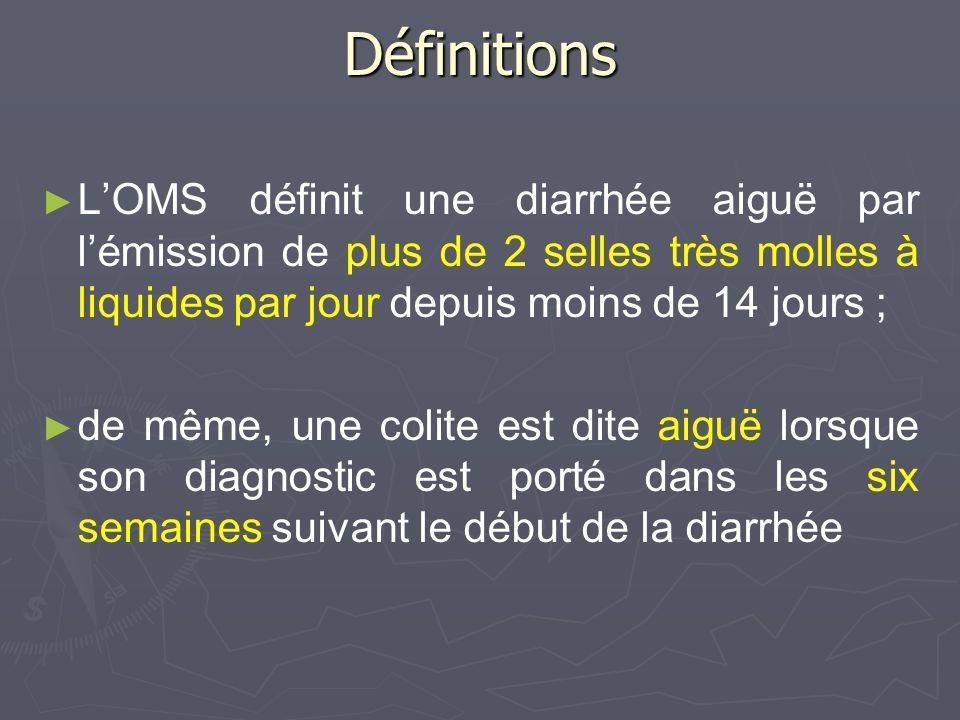 Définitions LOMS définit une diarrhée aiguë par lémission de plus de 2 selles très molles à liquides par jour depuis moins de 14 jours ; de même, une