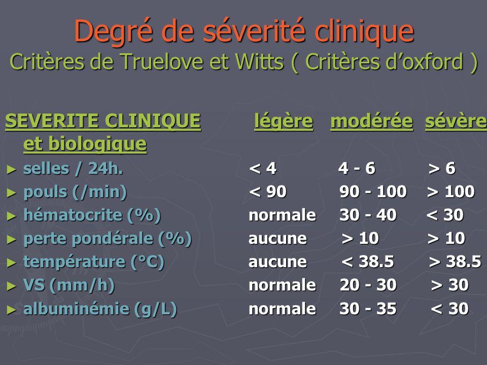 Degré de séverité clinique Critères de Truelove et Witts ( Critères doxford ) SEVERITE CLINIQUE légère modérée sévère et biologique selles / 24h. 6 se