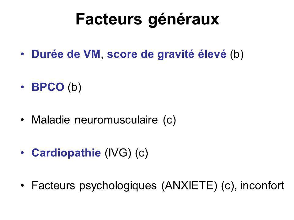 Facteurs généraux Durée de VM, score de gravité élevé (b) BPCO (b) Maladie neuromusculaire (c) Cardiopathie (IVG) (c) Facteurs psychologiques (ANXIETE