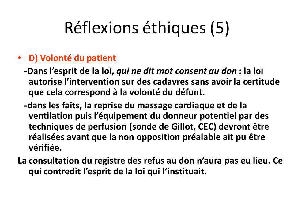 Réflexions éthiques (5) D) Volonté du patient -Dans lesprit de la loi, qui ne dit mot consent au don : la loi autorise lintervention sur des cadavres