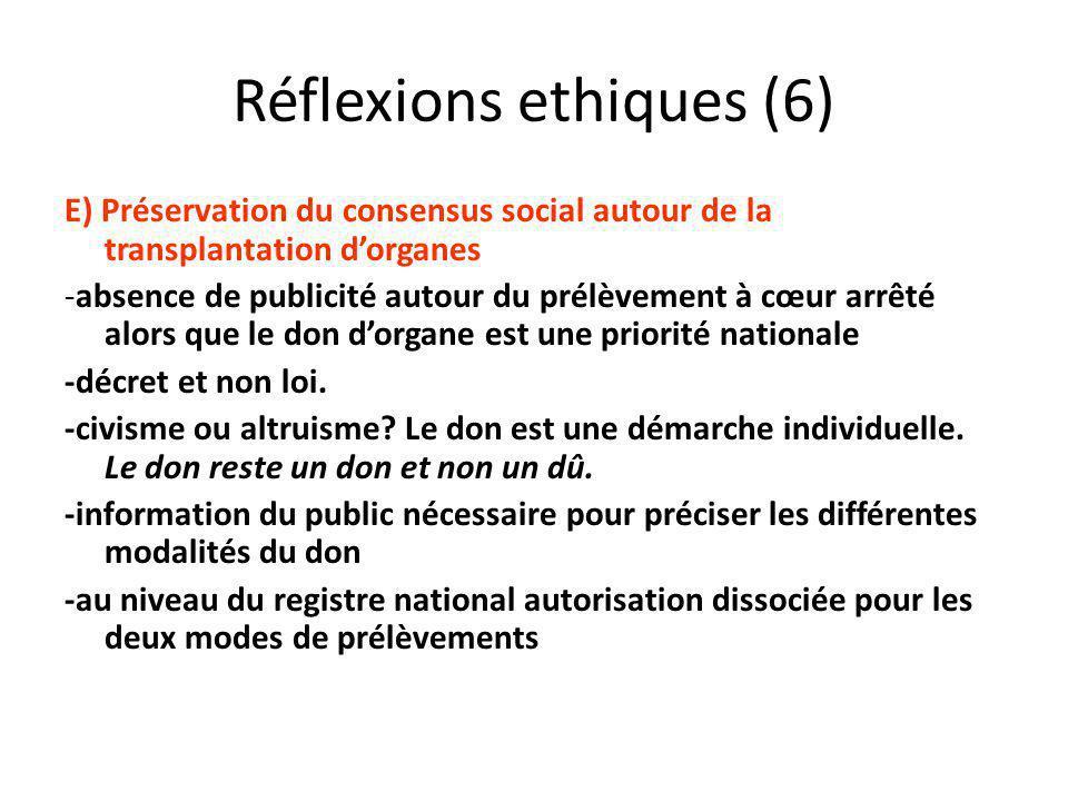 Réflexions ethiques (6) E) Préservation du consensus social autour de la transplantation dorganes -absence de publicité autour du prélèvement à cœur a