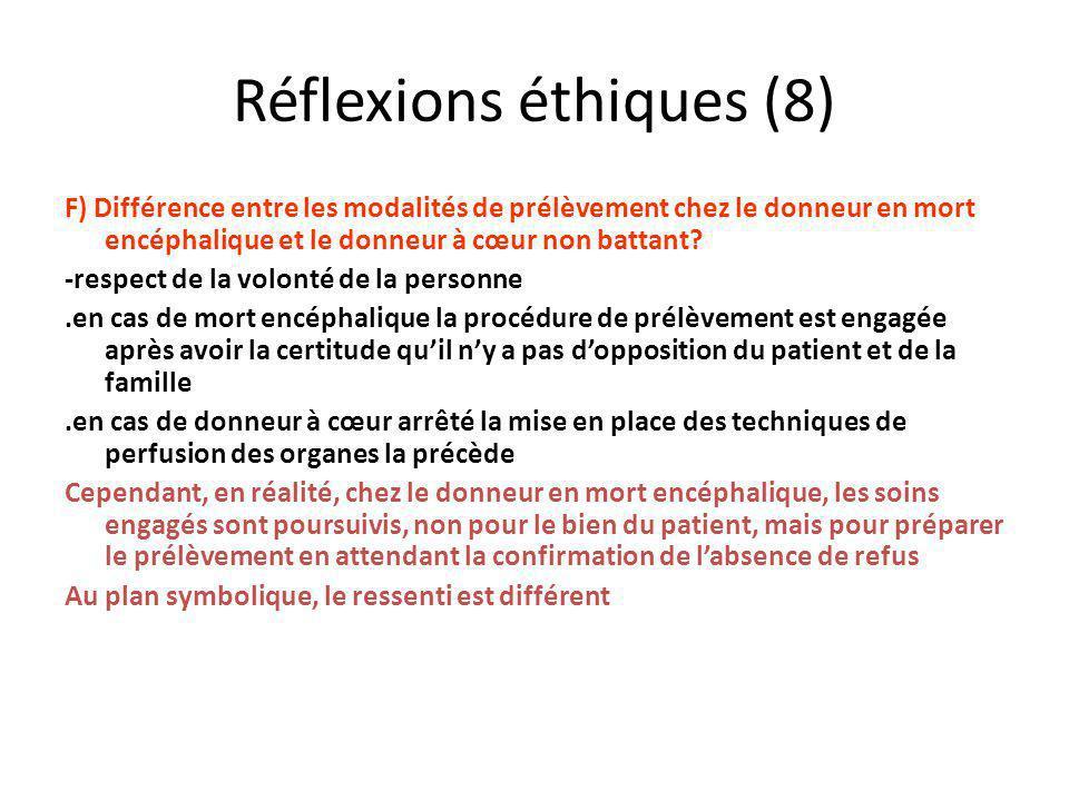 Réflexions éthiques (8) F) Différence entre les modalités de prélèvement chez le donneur en mort encéphalique et le donneur à cœur non battant? -respe