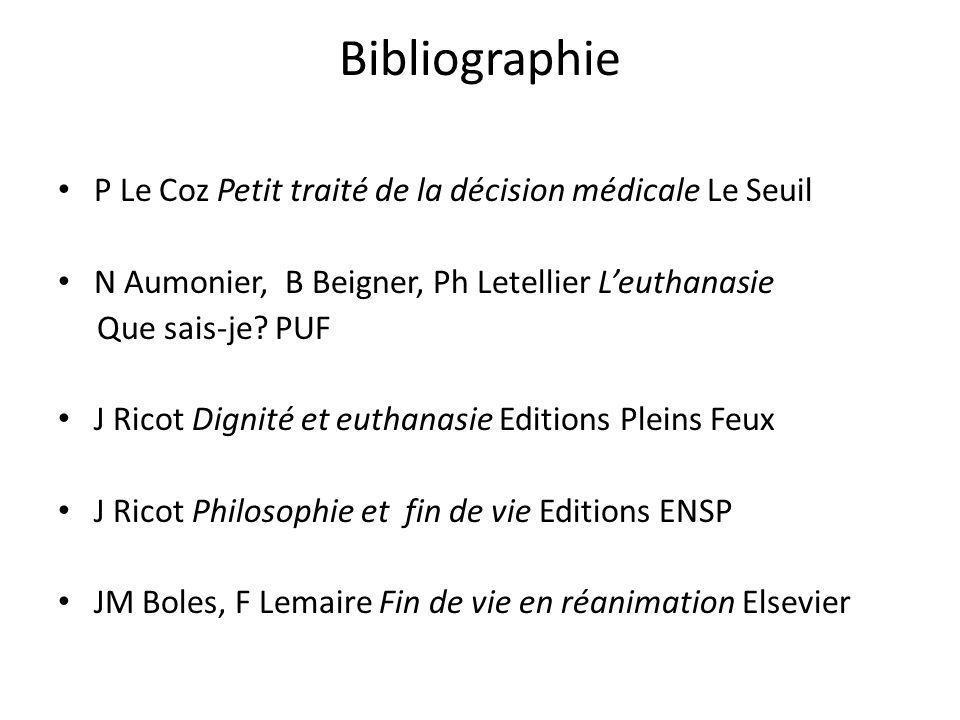 Bibliographie P Le Coz Petit traité de la décision médicale Le Seuil N Aumonier, B Beigner, Ph Letellier Leuthanasie Que sais-je? PUF J Ricot Dignité