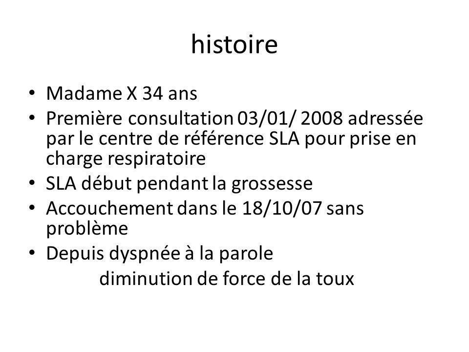 histoire Madame X 34 ans Première consultation 03/01/ 2008 adressée par le centre de référence SLA pour prise en charge respiratoire SLA début pendant la grossesse Accouchement dans le 18/10/07 sans problème Depuis dyspnée à la parole diminution de force de la toux