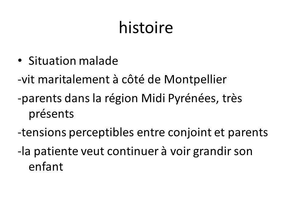 histoire Situation malade -vit maritalement à côté de Montpellier -parents dans la région Midi Pyrénées, très présents -tensions perceptibles entre conjoint et parents -la patiente veut continuer à voir grandir son enfant
