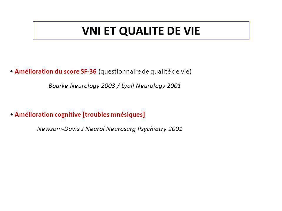VNI ET QUALITE DE VIE Amélioration du score SF-36 (questionnaire de qualité de vie) Bourke Neurology 2003 / Lyall Neurology 2001 Amélioration cognitiv
