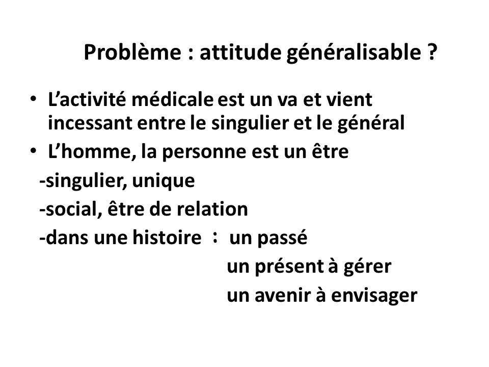 Problème : attitude généralisable ? Lactivité médicale est un va et vient incessant entre le singulier et le général Lhomme, la personne est un être -